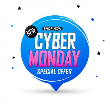 Cyber Monday Sale, speech bubble banner design template, special offer, discount tag, vector illustration