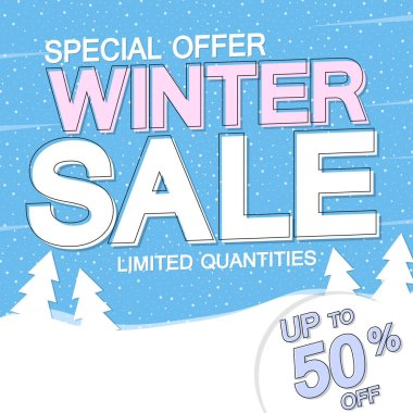 Winter Sale, poster design template, up to 50% off, special offer, vector illustration