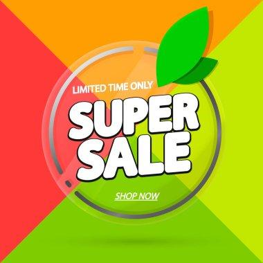 Super Sale, promotion banner design template, Spring discount tag, vector illustration