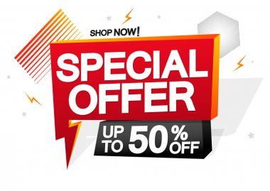 Special Offer, up to 50% off, sale speech bubble banner, flash discount tag design template, vector illustration