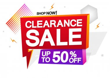 Clearance Sale up to 50% off, speech bubble banner design template, discount tag, vector illustration