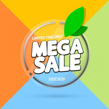 Mega Sale, promotion banner design template, spring discount tag, vector illustration