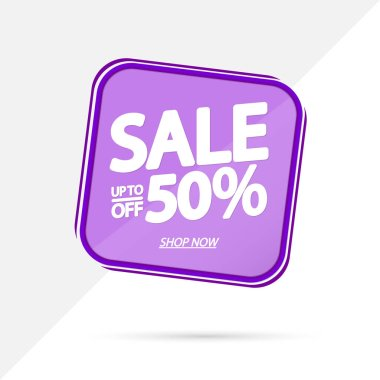 Sale up to 50% off, banner design template, discount tag, app icon, vector illustration