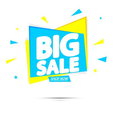 Big Sale, super promotion banner design template, discount tag, vector illustration