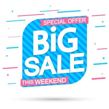 Big Sale, super promotion banner design template, discount tag, special offer, vector illustration
