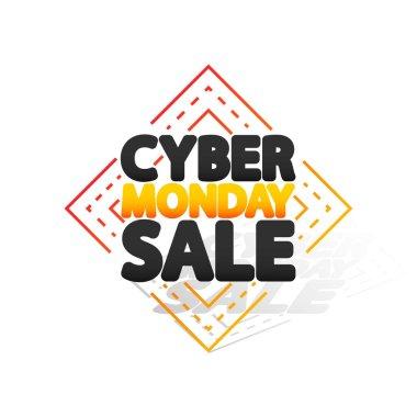 Cyber Monday Sale, banner design template, vector illustration