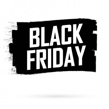 Black Friday Sale, banner design template, discount tag, grunge brush, vector illustration