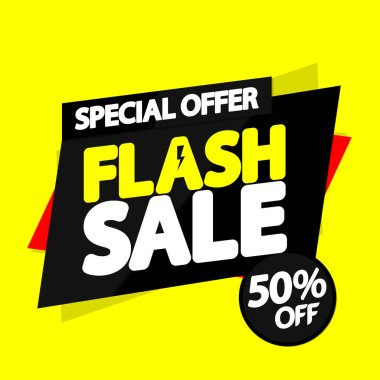 Flash Sale 50% off, banner design template, discount tag, special offer, app icon, vector illustration
