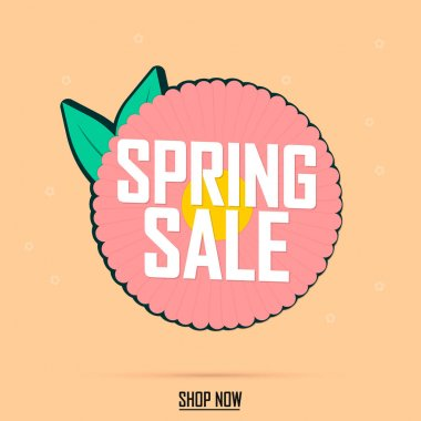 Spring Sale, banner design template, discount tag, app icon, vector illustration