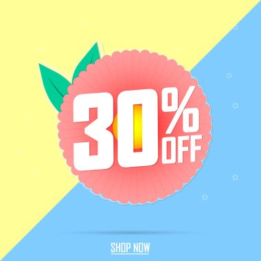Spring Sale, 30% off, banner design template, discount tag, vector illustration