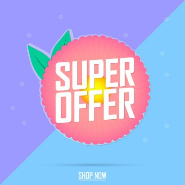 Super Spring Sale, banner design template, discount tag, app icon, vector illustration