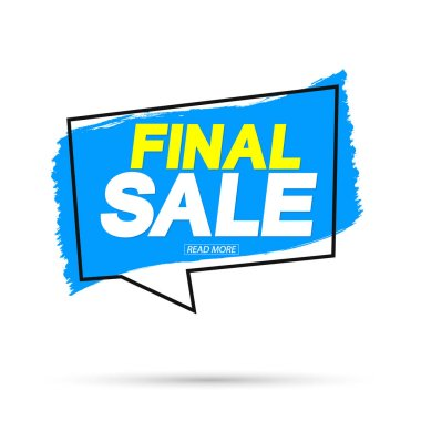 Final Sale, banner design template, discount tag, grunge brush, vector illustration