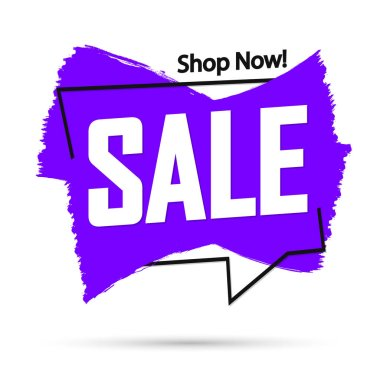 Sale banner design template, discount tag, grunge brush, vector illustration