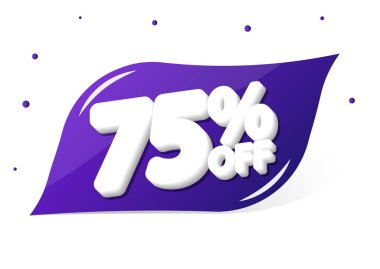 Sale 75% off, banner design template, discount tag, app icon, vector illustration