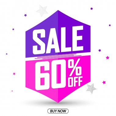 Sale 60% off, special offer, banner design template, discount tag, app icon, vector illustration