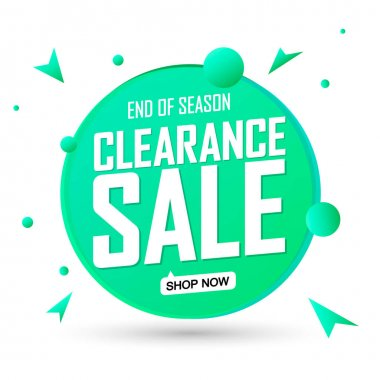 Clearance Sale, banner design template, discount tag, end of season, promotion app icon, vector illustration