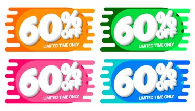 Set Sale 60% off tags, bubble banners design template, app icons, vector illustration