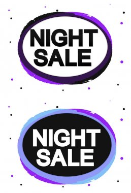 Set Night Sale banners, discount tags design template, vector illustration