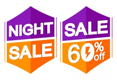 Night Sale 60% off, banners design template, flash discount tags, vector illustration