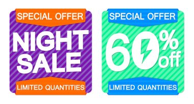 Night Sale 60% off, banners design template, flash discount tags, special offers, vector illustration