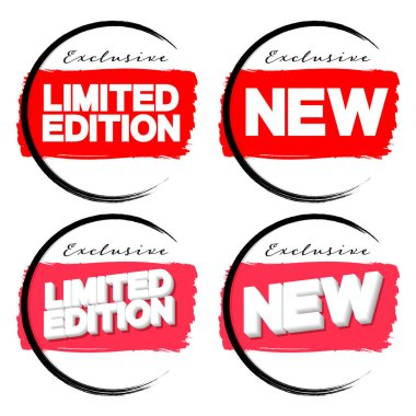 Limited Edition and New banners design template, brush grunge, exclusive collection, promotion tags, vector illustration