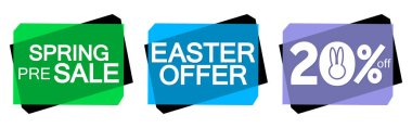 Set Spring Sale banners design template, pre-order season tags, Easter offer, discount 20% off, vector illustration