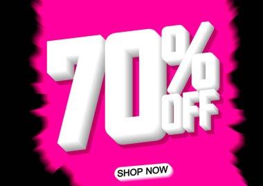 Sale 70% off, poster design template, vector illustration