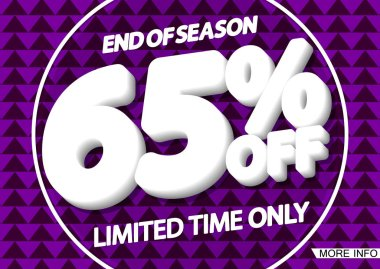 Sale 65% off, poster design template, end of season, vector illustration