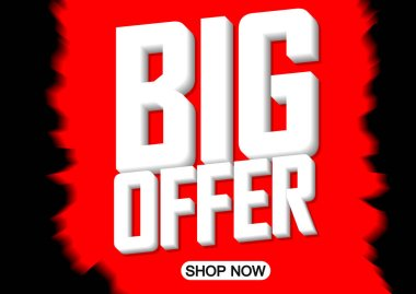 Big Offer, sale poster design template, horizontal banner, vector illustration