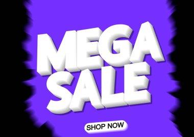 Mega Sale, poster design template, vector illustration