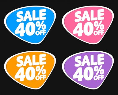 Sale 40% off, discount banners design template, promo tags, extra offers, vector illustration