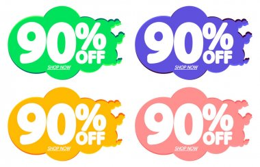 Sale 90% off tags, bubble banners design template, app icons, today only, vector illustration