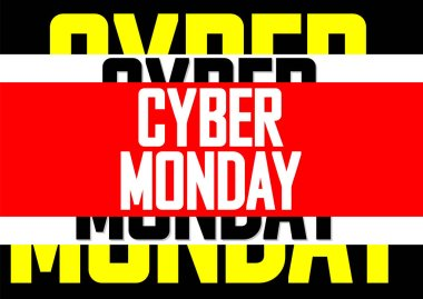 Cyber Monday Sale, poster design template, vector illustration