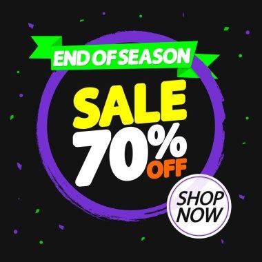 Sale 70% off, banner design template, discount tag, grunge brush, end of season, vector illustration