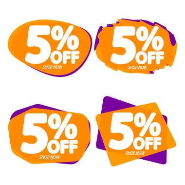 Set Sale 5% off bubble banners, discount tags design template, vector illustration