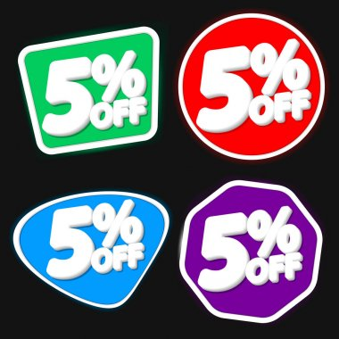 Set Sale 5% off banners, discount tags design template, extra promo, app icons, vector illustration