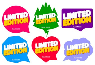 Set Limited Edition banners design template, speech bubble tags, vector illustration