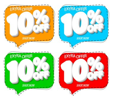 Set Sale 10% off banners, discount tags design template, extra promo, speech bubble, app icons, vector illustration