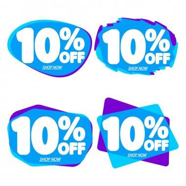Set Sale 10% off bubble banners, discount tags design template, vector illustration