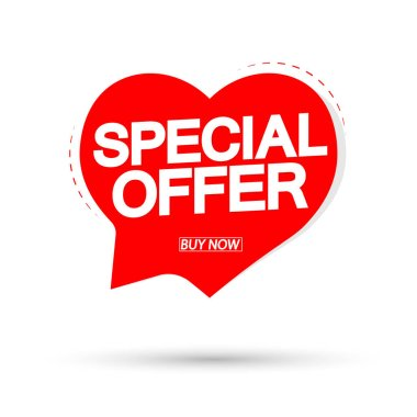 Special Offer, Valentines Day sale banner design template, discount speech bubble tag, vector illustration