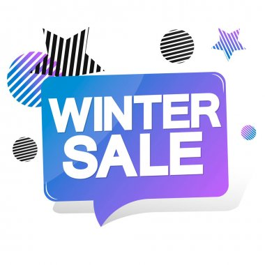 Winter Sale, speech bubble banner design template, discount tag, vector illustration
