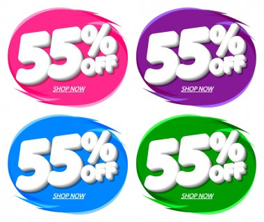 Sale 55% off, bubble banner design template, discount tag, app icon, vector illustration
