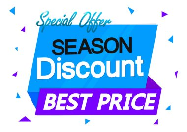 Season Discount, banner design template, sale tag, special offer, best price, vector illustration