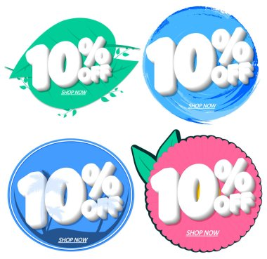Set Sale 10% off banners, discount tags design template, extra promo, app icons, vector illustration