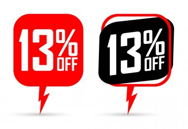 Sale 13% off banners, discount tags design template, flash promo, app icons, vector illustration