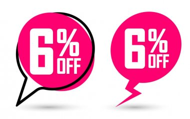 Sale 6% off banners, discount tags design template, flash promo, app icons, vector illustration