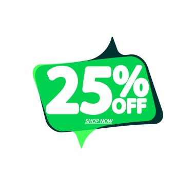 Sale 25% off, bubble banner design template, discount tag, vector illustration