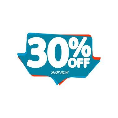 Sale 30% off, bubble banner design template, discount tag, vector illustration