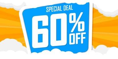 Summer Sale 60% off, poster design template, discount banner, special deal, vector illustration