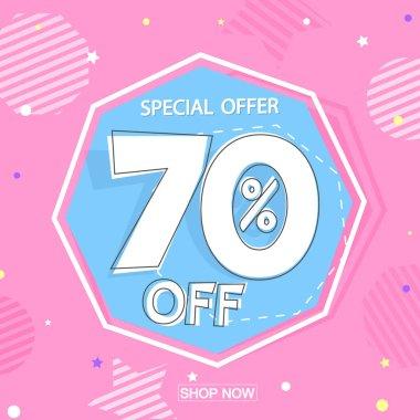 Sale 70% off, poster design template, discount banner, special offer, vector illustration